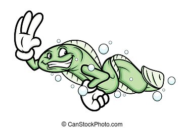 Cartoon Eel Fish Character
