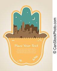 hamsa hand with Jerusalem skyline illustration card - hamsa...