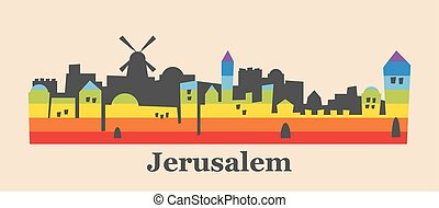 Jerusalem skyline colored with gay flag colors. illustration...