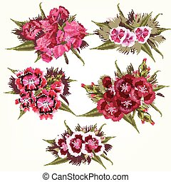 Collection of vector  pink flowers