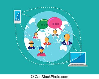Social Network, people Connection - People connecting across...