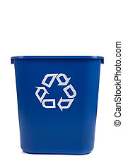 blue recycle can on white - A blue recycle can on a white...