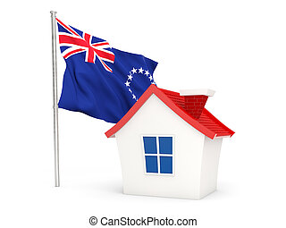 House with flag of cook islands isolated on white