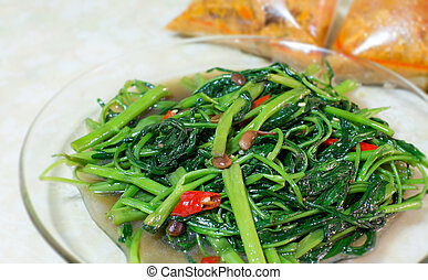 Stir Fried Water Spinach and red curry background