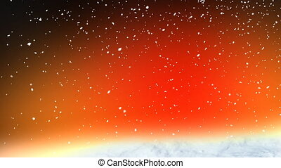 Red snow loop - Falling snow on red background