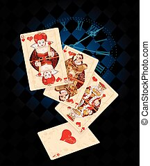 Background with Card Suits - Retro-background with playing...