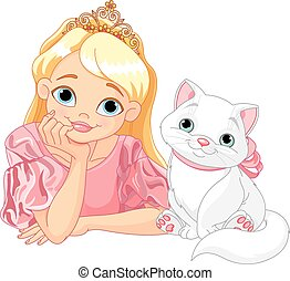 Princess and Cat - Fairytale Princess is kissing a white cat