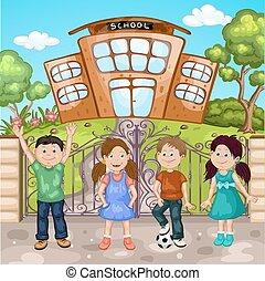 Illustration of school building