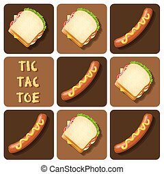 Tic-Tac-Toe of Sausage and Sandwich