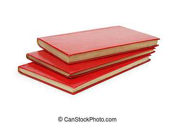 Three red books isolated on white background