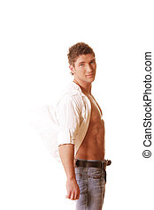 Guy in unbuttoned shirt