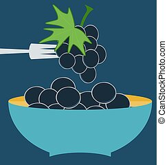 bunch of grapes, blue plate concept