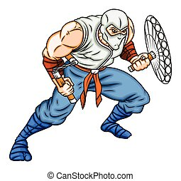 Cartoon Fighter with Weapons Vector Illustration