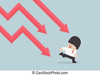 Businessman run away from falling graph, Downtrend, VECTOR,...