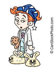 Sleepy Cartoon Girl Character Vector Illustration