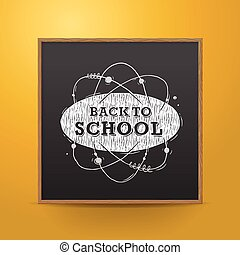 Back to school, blackboard on the wall, vector illustration.