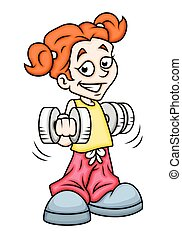 Cartoon Girl Doing Exercise