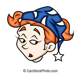Sleepy Cartoon Girl Face Expression Vector Illustration