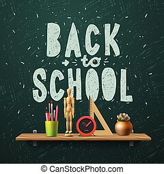 Back to school, template with schools workspace supplies