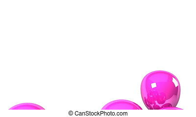 Pink Balloons On White Background.