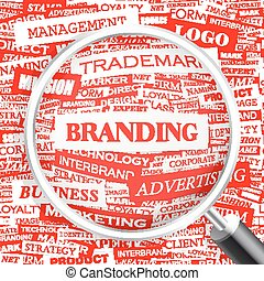 BRANDING Word cloud illustration Tag cloud concept collage...