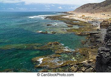 Gran Canaria, El Confital beach on the edge of Las Palmas,...