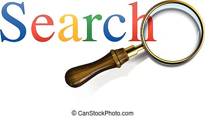 Search word with magnifying glass, vector illustration