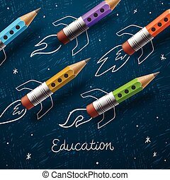 Education. Rocket ship launch with pencils - sketch on the blackboard