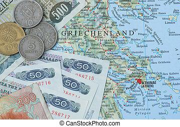 Grego, dracma, antigas, moeda corrente