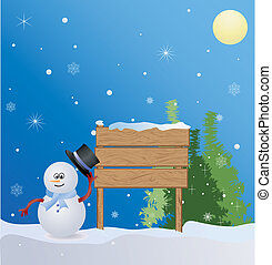 Christmas place with snowman