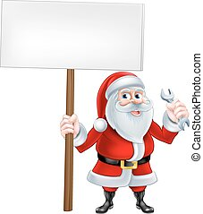 Santa Wrench Sign - A Christmas cartoon illustration of...