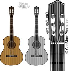 Guitar in engraving style - Vector illustration of an...