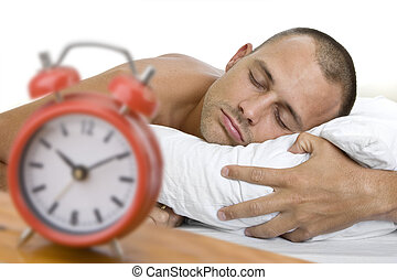 Man Asleep with Clock - Man a sleep with big red alarm clock...