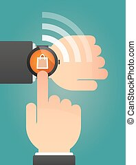 Hand pointing a smart watch with a shopping bag