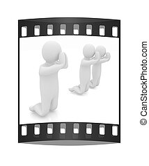 3d mans on his knees Christian prayer concept The film strip...