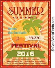 Summer music festival printable poster template or web...