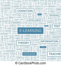 E-LEARNING. Word cloud concept illustration. Wordcloud...