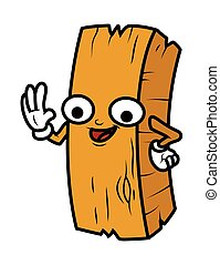 Funny Cartoon Wood Log Vector Illustration