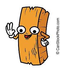 Funny Cartoon Wood Log Vector Illustration