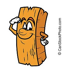 Powerful Cartoon Wood Log Vector