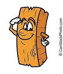 Powerful Cartoon Wood Log Vector