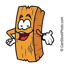 Presenting Cartoon Wood Log Vector
