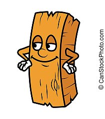 Satisfied Cartoon Wood Log Vector