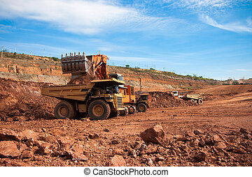 Big mining truck at work site coal transportation - LAMPANG,...