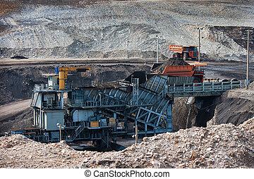 Big  mining truck at work site coal transportation