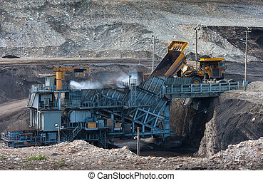 coal-preparation plant. Big mining truck at work site coal...