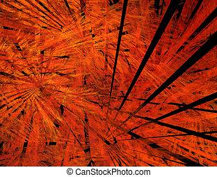 Big bang - Abstract image of Big Bang. Black rays in flame....
