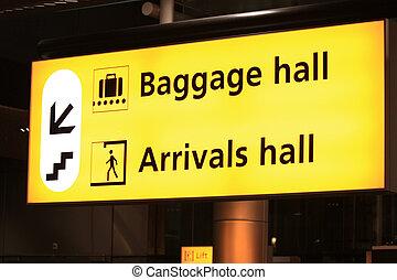 informacja, lotnisko, znak