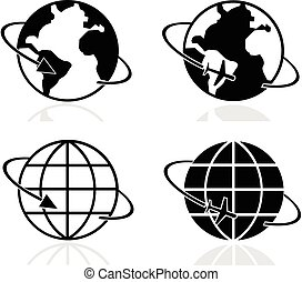 Earth icons set vector eps 10