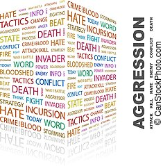 AGGRESSION Background concept wordcloud illustration Print...